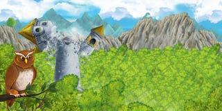 Scena del fumetto della torre medievale sprofondante fotografia stock libera da diritti