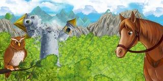 Scena del fumetto della torre medievale sprofondante con il cavallo che sta e che guarda fotografia stock