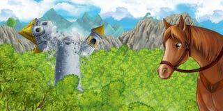 Scena del fumetto della torre medievale sprofondante con il cavallo che sta e che guarda immagine stock