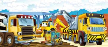 Scena del fumetto di un cantiere con differenti macchine e lavoratori pesanti Fotografia Stock