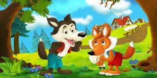 Scena del fumetto di un lupo e di una volpe che parlano l'un l'altro dopo avere rubato le pecore dal villaggio illustrazione vettoriale