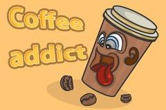 Scena del fumetto di vettore della persona dedita del caffè fotografie stock libere da diritti