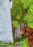 Scena del fumetto una certa torre di pietra nel cavallo profondo della foresta che sta e che guarda immagine stock libera da diritti