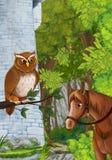 Scena del fumetto una certa torre di pietra nella foresta profonda con il gufo che si siede e che guarda fotografia stock