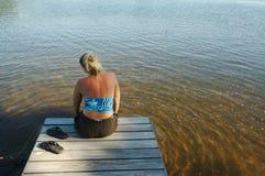Scena del lago il giorno di estate Fotografia Stock Libera da Diritti