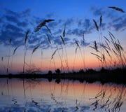 Scena del lago sulla sera fotografie stock