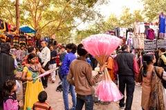 Scena del mercato di Nuova Delhi Fotografia Stock Libera da Diritti