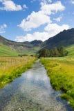 Scena del paese del distretto del lago della montagna e del fiume dei mucchi di fieno da Buttermere Regno Unito Cumbria Fotografia Stock