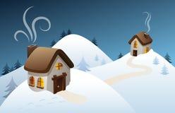 Scena del paese di inverno Fotografie Stock