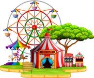 Scena del parco di divertimenti al giorno illustrazione di stock