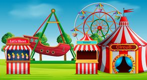 Scena del parco di divertimenti al giorno illustrazione vettoriale