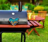 Scena del partito del cortile di estate del BBQ Fotografia Stock