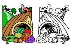 Scena del raccolto con cornucopia Illustrazione Vettoriale