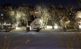 Scena del villaggio di notte Fotografie Stock