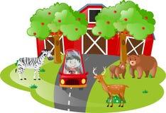 Scena dell'azienda agricola con il bambino in automobile rossa royalty illustrazione gratis