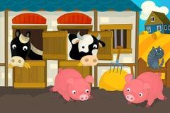 Scena dell'azienda agricola del fumetto - maiali gatto e mucca del cavallo Immagini Stock
