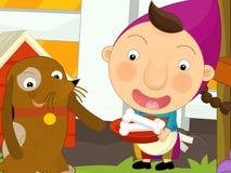 Scena dell'azienda agricola del fumetto - ragazza che alimenta il cane Immagine Stock