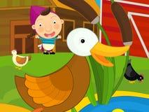 Scena dell'azienda agricola del fumetto - ragazza sull'azienda agricola Fotografie Stock