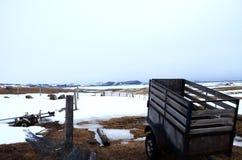 Scena dell'azienda agricola in neve Immagine Stock