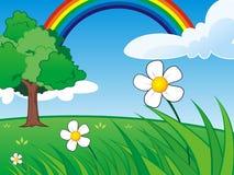 Scena dell'erba con il chiari cielo e Rainbow illustrazione vettoriale