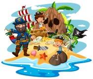 Scena dell'oceano con il pirata ed i bambini sull'isola del tesoro royalty illustrazione gratis