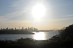 Scena dell'orizzonte della città di Sydney nella sera Immagini Stock Libere da Diritti