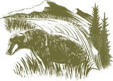 Scena dell'orso dell'intaglio in legno Fotografia Stock