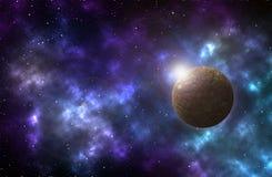 Scena dell'universo con i pianeti, le stelle e le galassie immagine stock libera da diritti