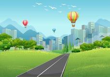 Scena della città con i palloni e gli edifici alti illustrazione di stock