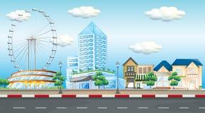 Scena della città con la ruota e le costruzioni di ferris illustrazione di stock