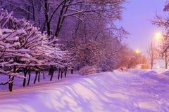 Scena della città di inverno di notte Fotografia Stock