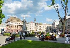 Scena della città di Lviv (Ucraina). 10 MAGGIO 2012 Fotografia Stock Libera da Diritti