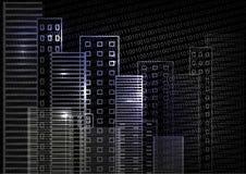 Scena della città sulla notte cityscape Grattacieli illuminati su un fondo nero Colore nero bianco blu Fotografie Stock Libere da Diritti