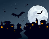 Scena della città di notte di Halloween Fotografie Stock