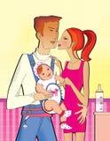 Scena della famiglia: Papà con una piccola figlia in uno zaino del canguro che abbraccia mamma con una mano La ragazza sta tenend illustrazione di stock