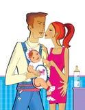 Scena della famiglia: Papà con una piccola figlia in uno zaino del canguro che abbraccia mamma con una mano La ragazza sta tenend illustrazione vettoriale