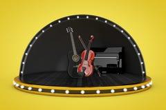 Scena della fase con le luci ed il piano, chitarra acustica di legno nera Fotografia Stock