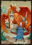 Scena della favola con il drago, il castello medievale, principessa ed il cavaliere Illustrazione piana di vettore, verticale royalty illustrazione gratis