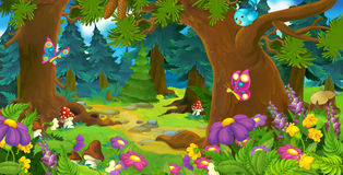 Scena della foresta del fumetto - illustrazione per i bambini Immagine Stock Libera da Diritti