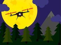 Scena della foresta di notte del fuco di volo con fullmoon Fotografia Stock