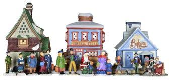 Scena della gente del villaggio di Natale di inverno isolata Fotografia Stock