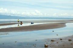 Scena della linea costiera a bassa marea - Cambogia, Asia dell'acqua del turchese Immagine Stock