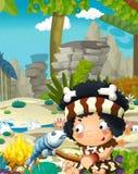 Scena della natura del fumetto con il cavernicolo - giungla - famiglia di età della pietra - con il ragazzo divertente di manga - illustrazione vettoriale