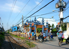 Scena della residenza di Saigon, residenziale trasversale ferroviario Fotografie Stock Libere da Diritti
