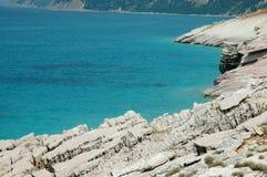 Scena della spiaggia in Albania Fotografie Stock Libere da Diritti