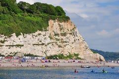 Scena della spiaggia a birra, Dorset, Regno Unito Fotografia Stock