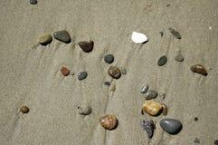 Scena della spiaggia - ciottoli nella sabbia immagini stock libere da diritti