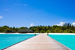 Scena della spiaggia dei Maldives Fotografia Stock