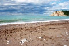 Scena della spiaggia del Montenegro Fotografie Stock Libere da Diritti