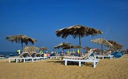 Scena della spiaggia dell'India di goa di Calangute Fotografie Stock Libere da Diritti